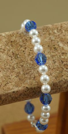 Handmade Swarovski crystal and pearl bracelet. Click for more photos and info! $55.50 https://www.etsy.com/listing/195688665/swarovski-crystal-and-pearl-handmade