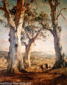 "Hans Heysen -""The Three Gums"" Oil on Canvas 160 x cm Ballarat Fine Art Gallery Watercolor Landscape, Landscape Art, Landscape Paintings, Landscapes, Australian Painting, Australian Artists, John Wilson, Tree Art, Artist Art"