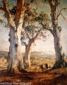 Hans Heysen 1877 – 1968 was a German-born Australian artist. He became a household name for his watercolours of monumental Australian gum trees. Heysen also produced images of men & animals toiling in the Australian bush, as well as groundbreaking depictions of arid landscapes in the Flinders Ranges