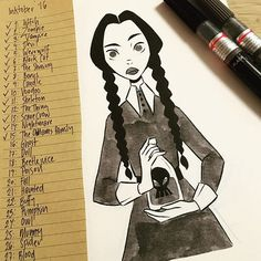 Inktober Day 15: The Addams Family - #half way there #inktober #inktober2016 #girlsinanimation #sketch #deawing #doodle