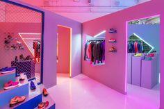 dezeen:  Neon lurid colours illuminate this Nike pop-up shop»  awesome furturistic retail design!
