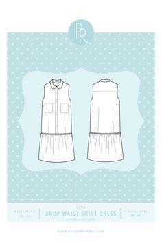 Drop Waist Shirt Dress Sewing Pattern - PDF Pattern