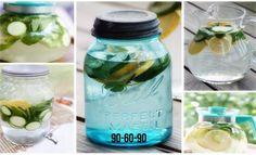 Ингредиенты:  2 л воды  1 огурец  1 лимон  10-12 листков мяты  Оставить на ночь. Пить ежедневно.