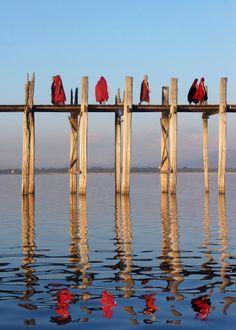 Buddhist Monks - U Bein's ancient teak bridge - Amarapura, Myanmar