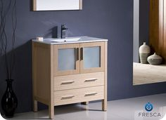 $945.00 Torino 30 inch  Light Oak Vanity with Undermount Sink FVN6230LO-UNS by Fresca