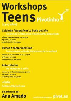 PIVOTINHO [PIVOT SCHOOL]. Talleres TEENS [13-17 años]. Sábados otoñales para explorar la fotografía de forma creativa. Dinamizado por Ana Amado (@aamadopazos).