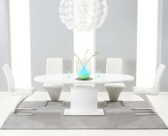 84274c3c4e08 Buy the Santana White High Gloss Extending Pedestal Dining Table with  Malaga Chairs at Oak Furniture Superstore