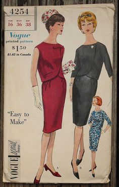 Vogue Special Design 4254 1960s 60s Mod Two by EleanorMeriwether