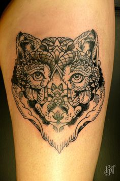 Wolf by Bleu Noir #tattoo #ink #polygon #floral #cool #abesses #bleunoir