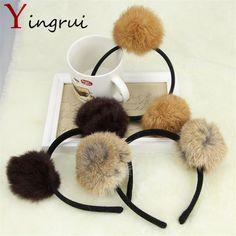 Rabbit Fur Hair Band Soft Ball Headband Women Girls Cute Poms Hair Accessories Sweet Animal Ear Headwear