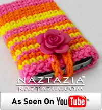 DIY Learn How to Crochet Easy Beginner Striped Stripes Cell Phone iPad iPod iPhone Tablet PC Case Holder Sleeve Free Pattern with YouTube Tutorial Video by Naztazia