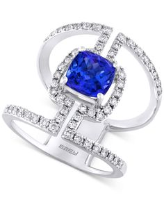 Tanzanite Royale by Effy Tanzanite (1-5/8 ct. t.w.) and Diamond (3/4 ct. t.w.) Statement Ring in 14k White Gold