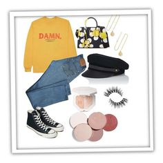 """""""Damn"""" by hannahrosei on Polyvore featuring KENNY, Levi's, Converse, Marc Jacobs, Lola, Grace Lee Designs and LunatiCK Cosmetic Labs"""