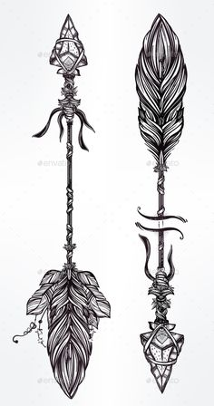 Ethnic Boho Decorative Arrows Set In Tattoo Style. — JPG Image #boho #archer • Available here → https://graphicriver.net/item/ethnic-boho-decorative-arrows-set-in-tattoo-style/14861997?ref=pxcr