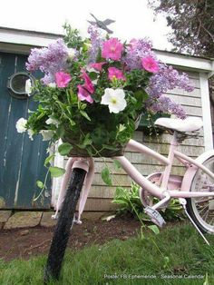 Beautiful flowers on a pink bike Bicycle Decor, Old Bicycle, Bicycle Art, Bike Planter, Bicycle Pictures, Pink Bike, Vides, Garden Art, Decoration