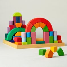 Amazon.com: Grimm's Large Romanesque Building Set - Handmade Wooden Blocks, 62 Pieces in 17-inch Storage Tray (4x4 Size): Toys & Games
