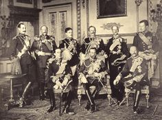 The nine European Monarchs who attended the funeral of King Edward Vll photographed at Windsor Castle on 20 May 1910. Standing, from left to right: King Haakon VII of Norway, King Ferdinand of Bulgaria, King Manuel II of Portugal, Kaiser Wilhelm II of Germany, King George I of Greece and King Albert I of Belgium. Seated, from left to right: King Alfonso XIII of Spain, King George V of Britain and King Frederick VIII of Denmark.