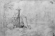 1530-1540 Karveel en zeilschip in baai voor stad
