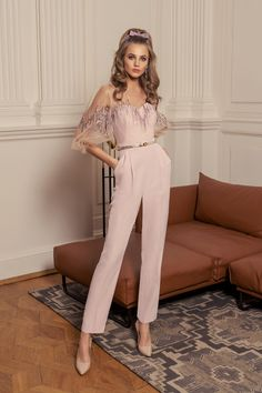 Papilio Jumpsuit with bishop sleeves and zig zag embroidery Evening Gowns With Sleeves, Long Evening Gowns, Short Cocktail Dress, Cocktail Dresses, Lovely Legs, Bishop Sleeve, Little Dresses, Classy Women, Spring Dresses