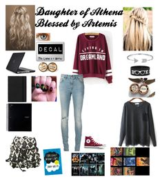 """""""Daughter of Athena;Blessed by Artemis"""" by haileyscomet95 ❤ liked on Polyvore featuring Speck, FiloFax, Converse, Yves Saint Laurent and Bling Jewelry"""