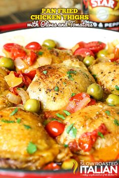 Pan-Fried Chicken Thighs with Olives and Tomatoes is absolutely amazing with @entwinewine Chardonnay!