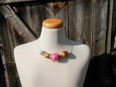 beaded necklace, gold necklace, pink necklace, tribal african necklace