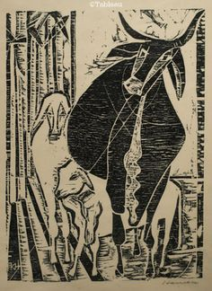 Hansen Bahia. Curral (Xilogravura). 31x22 cm