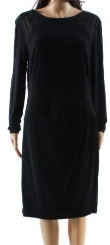 Lauren Ralph Lauren Women's Ruched Faux-Suede Jersey Dress (10, Black)