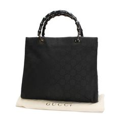 GUCCI Tote Bag Bamboo Handle bags Black Nylon 21010