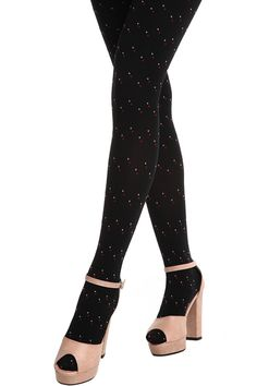 Pumping Colored Dots Print Black Tights #Romwe