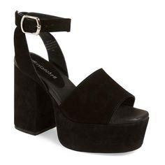 "Jeffrey Campbell 'Marla' Platform Sandal, 4 1/2"" heel ($150) ❤ liked on Polyvore featuring shoes, sandals, black suede, black suede shoes, chunky-heel sandals, platform shoes, black high heel shoes and black platform sandals"