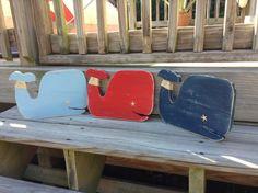 Whale Nautical Nursery Coastal Cottage Beach Decor LOTS of Custom Colors on Etsy, $23.50