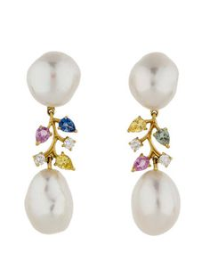 Pearl, Sapphire and Diamond Earrings