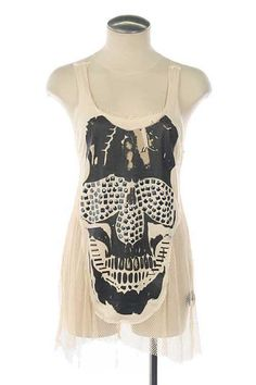 Studded High-Low Skull Top from ruched-boutique.com. Shop more products from ruched-boutique.com on Wanelo.