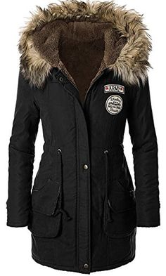 4HOW Womens Faux Fur Lined Parka Coats Outdoor Winter Hooded Long Jacket