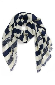 Want! Sparkly blue and white sequin scarf.