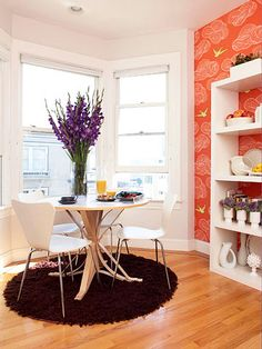 Wallpaper as an accent makes any space unique! More DIY wallpaper projects here: http://www.bhg.com/decorating/small-spaces/apartments/house-tours-chic-apartment-filled-with-diy-wallpaper-projects/?socsrc=bhgpin062514brightatmosphere&page=7