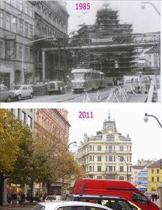Praha v proměnách času VI. Prague Photos, Prague Czech, Beautiful Places To Travel, Czech Republic, Old Photos, Big Ben, Europe, Let It Be, Ulice
