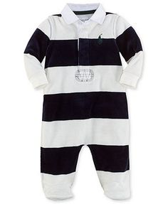 Ralph Lauren Baby Boys' Striped Footed Coverall