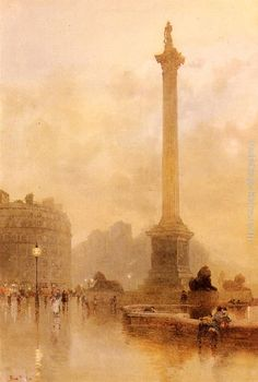 Nelson's Column In A Fogother    by Rose Mary Barton R.W.S. (21 April 1856–1929)