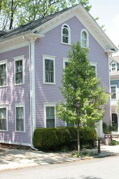 Exterior House Colors With Brown Roof: Purple House . House Siding, House Paint Exterior, Exterior Paint Colors, Exterior House Colors, Paint Colors For Home, Future House, My House, Lavender Cottage, Cottage Exterior