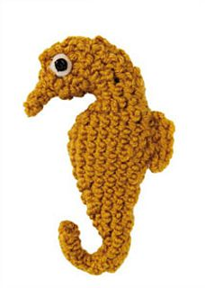 Stitchfinder : Crochet Sea Creature: Seahorse : Frequently-Asked Questions (FAQ) about Knitting and Crochet : Lion Brand Yarn Free Pattern. Crochet Fish, Crochet Art, Crochet Motif, Crochet Toys, Crochet Patterns, Spiral Crochet, Craft Patterns, Crochet Sea Creatures, Crochet Animals