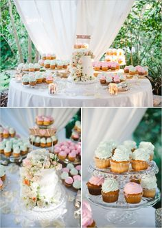 mint and pink wedding cake table ideas #desserttables #whimsicalweddingideas #weddingchicks http://www.weddingchicks.com/2014/01/10/elegant-garden-wedding/