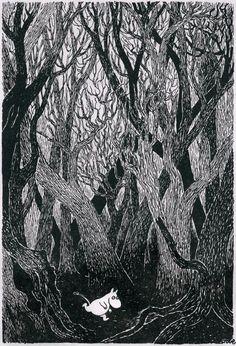 Moomin by Finnish illustrator and writer Tove Jansson Art And Illustration, Black And White Illustration, Tove Jansson, Les Moomins, Art Manga, Guache, Art Inspo, Troll, Illustrators
