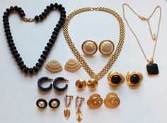 NAPIER Signed Lot of Vintage Jewelry Necklaces &Earrings #Napier