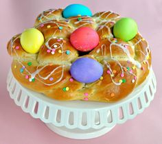 Easter Egg Braided Bread Recipe with a Lemon Glaze and Dyed Easter Eggs