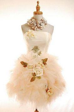 Le Morics Flower Fairy Mesh Tulle Prom Dress Peach L | eBay