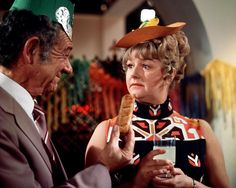 Sidney James and Joan Sims in Carry On Abroad. 1972