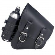 Solo Saddlebag with Reserve Bottle - Black - For Rigid & Softail Motorcycles