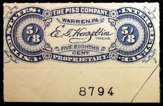 #RS303 The Piso Company 5/8 cent Blue C/L Plate Number Private Die MLH Fresh